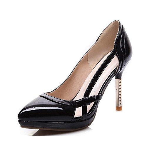AmoonyFashion Womens Pull-on Pointed Closed Toe High-Heels PU Solid Pumps-Shoes Black eBgmGSIN