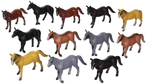 Rhode Island Novelty 4-inch Plastic Horse Figures 12-Pack (different colored breeds) (Figure Plastic Set)