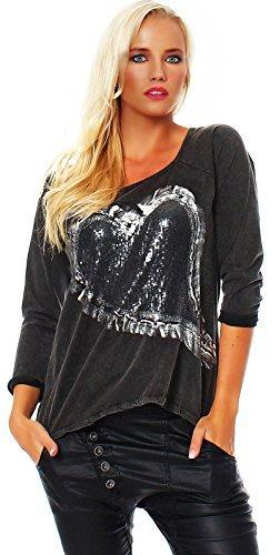 Camiseta De Mujer Camiseta T-Shirt Suéter De Manga Larga Camiseta larga AM 262 Antracita