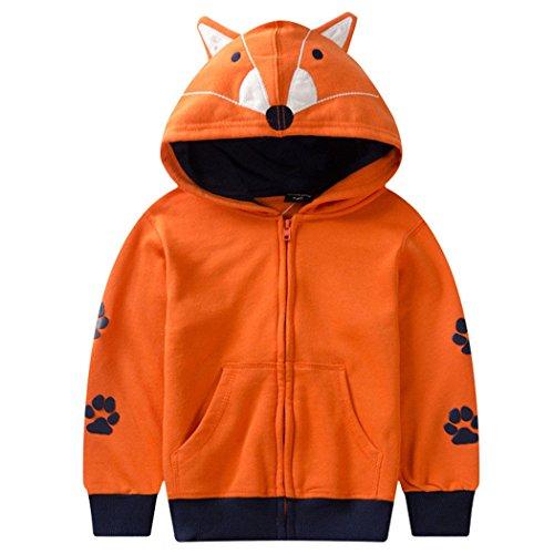 Baby Girls Hoodies Fox Kids Sweatshirt Toddler Full Zip Jacket Clothes Orange Apparel ...