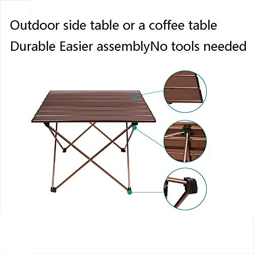 Portable Camping Table, Aluminum Table Topanti-Corrosion Rust Prevention Non-Slip Folding Table Picnic Camp Beach Easy Clean,2 by Cxmm (Image #2)