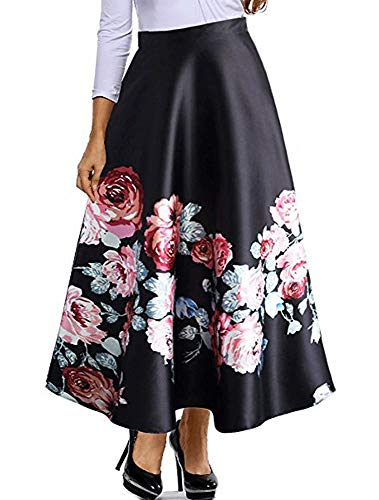 8826 - Plus Size Floral Blossoming Colorblock Monochrome Print Long Skirt (1X, Rose Blossom)