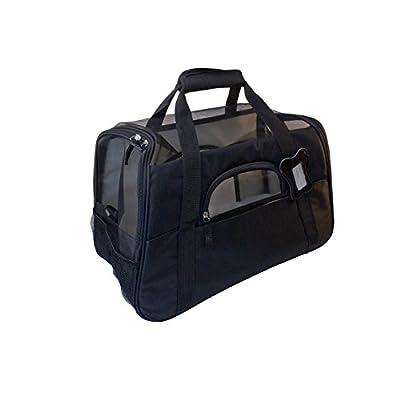 ALEKO® PCBBK Luxurious Foldable Pet Carrier Heavy Duty Portable Pet Home Spacious Traveler with Soft Cozy Insert Mat, Black