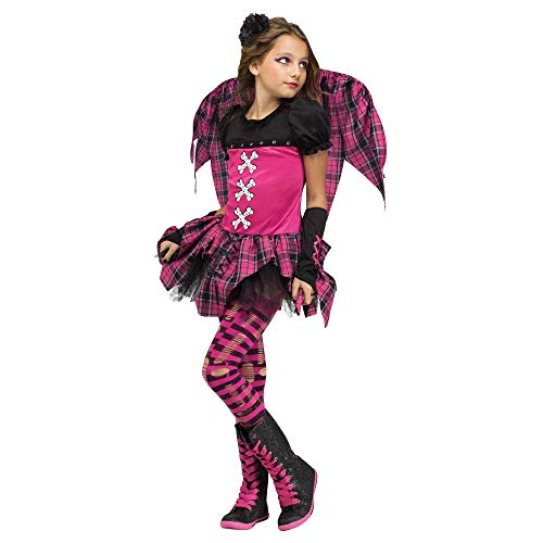 Girl's Size Small Hot Pink & Black Striped Plaid Punk Rock Fairy -