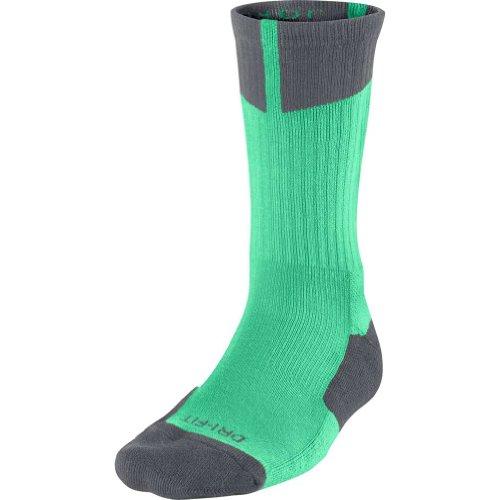 Jordan Men's Air Dri Fit Crew Socks Large Green Glow/Dark Grey by Jordan