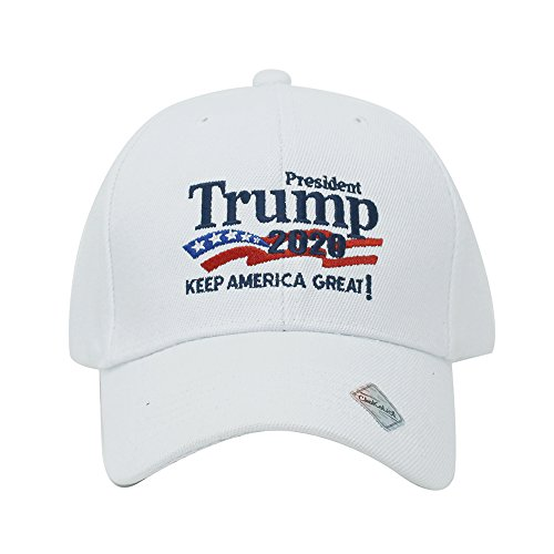 (Trump 2020 Keep America Great Campaign Embroidered USA Hat   Baseball Bucket Trucker Cap (Ball Cap White))