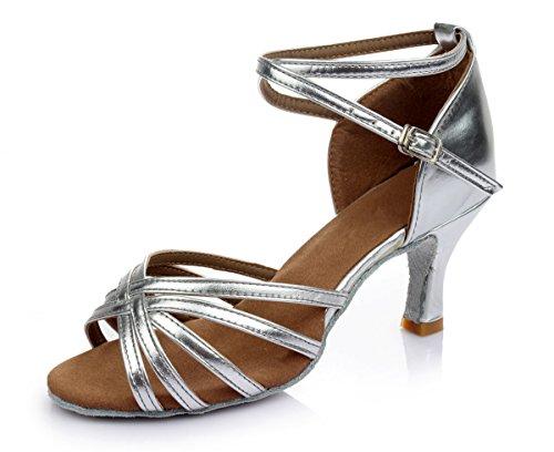 VESI-Zapatos de Baile Latino de Tacón Alto/Medio para Mujer Plata 37