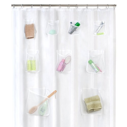 Maytex Mesh Pockets PEVA Shower Curtain Liner / Organizer, Clear, 70