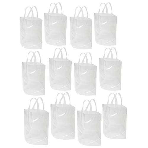"""Clear Bag with Soft Loop Handle 12"""" X 12"""" X 6"""" Thick Plastic Shopping Lunch Stadium Tote Bag, 12 Pack (Soft Clear Loop)"""