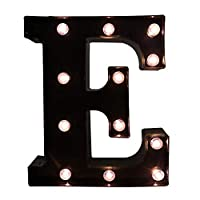 Glintee LED Marquee Letter Lights Black Alphabet Light Up Sign for Wedding Home Party Bar Decoration Battery Powered Letter Decor-E