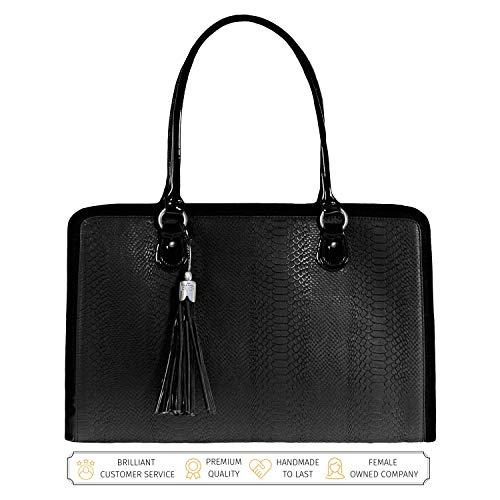 BFB Laptop Bag for Women - 17 inch Computer Briefcase for Women Handmade Luxury Vegan Leather Designer Stylish Travel Business Shoulder Messenger Work Tote Carrying Computer Case for Laptops - Black