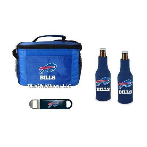 Titan WebStores NFL Football Team Logo 6 Pack Tailgating Cooler, Bottle Suits & Beer Opener Gift Set (Bills)