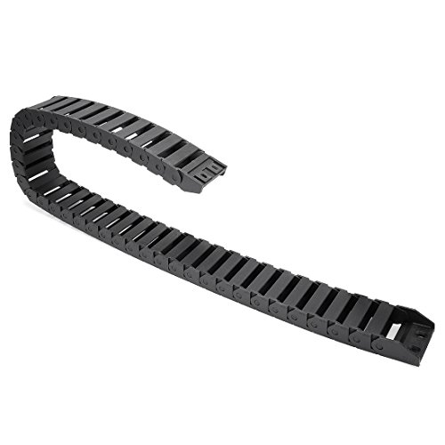 uxcell R28 15mm x 40mm (InnerHInnerW) Black Plastic Wire Carrier Cable Drag Chain 1M Length for CNC