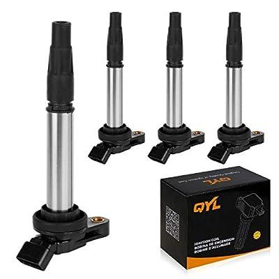 QYL 4Pcs Ignition Coils Replacement for Toyota Prius Corolla Matrix V Lexus CT200H Scion XD 1.8L L4 Compatible with UF-596 UF-619 C1714 90919-02252 90919-02258