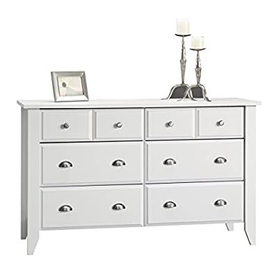 Sauder Shoal Creek Dresser, Soft White finish - Drawers with metal runners and safety stops feature patented T-lock assembly system Four lower drawers are extra deep Comfortably holds your abundance of clothes and accessories - dressers-bedroom-furniture, bedroom-furniture, bedroom - 41 grRSdH6L. SS400  -