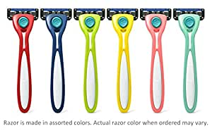 Preserve Shave 5 Five Blade Refillable Razor, Made from Recycled Materials, Assorted Colors
