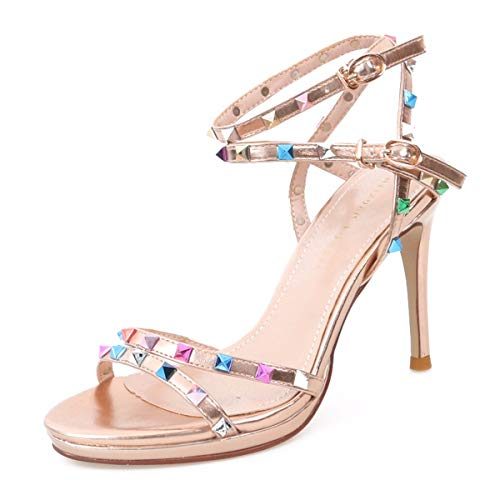 Shoes High Women'S Buckle Single Rivets 10Cm Pink Summer KPHY Fashion Thin Sexy Heel And Simple xYxw41
