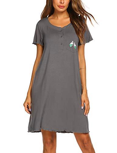 Lookein Nightshirts for Women Short Sleeve Nightgowns Henley Neckline Sleep Dress,Gray,XX-Large