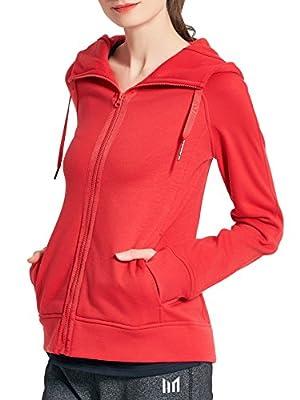 MOFEVER Womens Hoodie Sweatshirt Windproof Outdoor Jacket Sport Active Performance Long Sleeves Thermal Red/Peacock Green