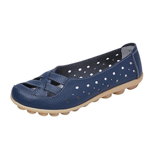 Girls Dark Jamicy Women Flat Leather Breathable Fashion Summer Hollow Blue Shoes Casual 1x5wAq6x