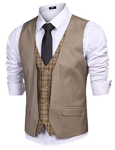 - URRU Men's Business Dress Suit Vest Slim Fit Layered Plaid Wedding Waistcoat Casual Party Tuxedo Jacket Khaki L