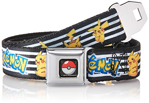 (Buckle-Down Men's Seatbelt Belt Kids, Pokemon/Pikachu Poses Stripe White/Black, 1.0