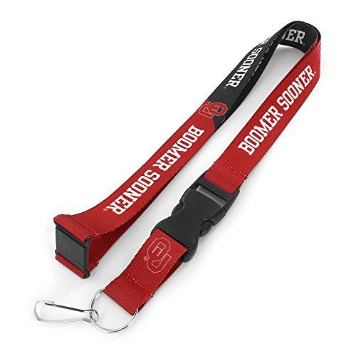 aminco NCAA Oklahoma Sooners Slogan Lanyard Fan Keychain, Red