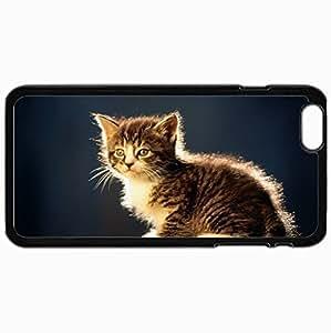Customized Case Back For Iphone 6 Plus 5.5 Inch Hard Cover Personalized Cat Cat Kitten Striped Sitting Black WANGJING JINDA