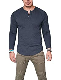 Mens Fashion Fitted Crew Neck Plus Size Long Sleeve Button Deco T-Shirt