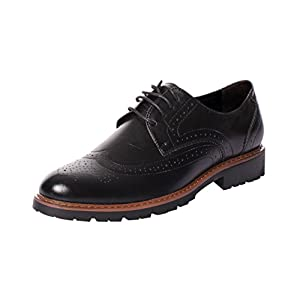 UJoowalk Mens Leather Classic Dress Brogue Lace Up Low Top Wingtip Oxford Shoes (8, Black)