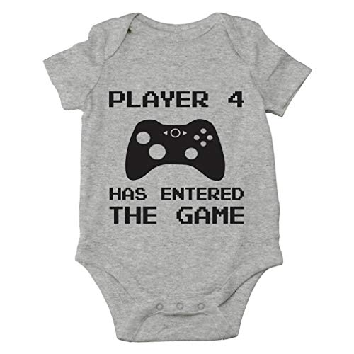 Player 4 Has Entered The Game - Funny New Sibling Announcement - Cute One-Piece Infant Baby Bodysuit (6 Months, Sports Grey)