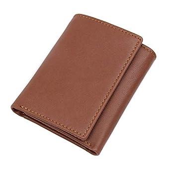 FeiNianJSh Monedero corto de cuero Vintage RFID Shield para ...