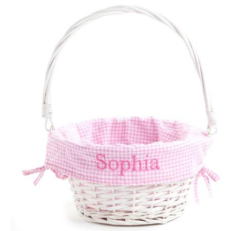 Personalized White Wicker Easter Basket with Pink Liner -