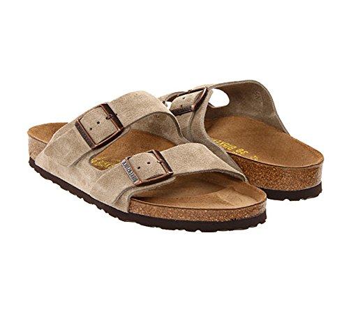 Birkenstock Unisex Arizona Taupe Suede Soft Foot Bed Sandals - 43 N EU/10-10.5 2A(N) US Men