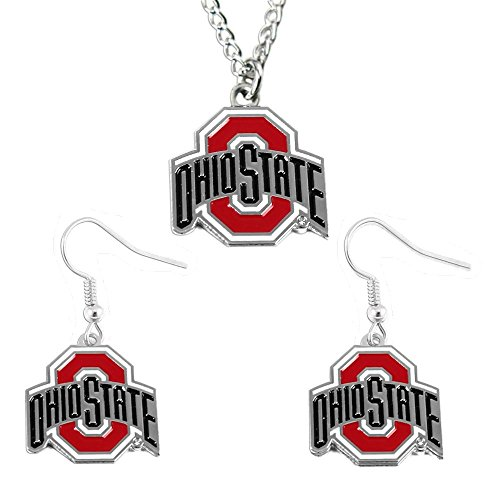 NCAA Ohio State Buckeyes Logo Dangle Earrings and Pendant Necklace Set, Team Color