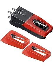 Lahviuu 2 stuks Record Speler Naald met 1 Cartridge,Draaitafel Naalden Record Player Stylus Technics Draaitafel, voor Vinyl Record Player Phonograph