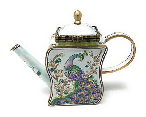 (Peacock on a Branch Enameled Miniature Teapot Trinket Box by Kelvin Chen, 3.25