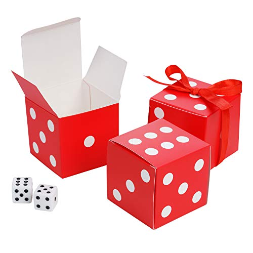 AWELL Red Dice Favor Box Bulk 2x2x2 inches with Red Ribbon, Casino Party Decoration, Pack of -