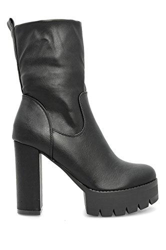 Alx Trend Chaussures femme Bottines en cuir faux Tracy - Noir
