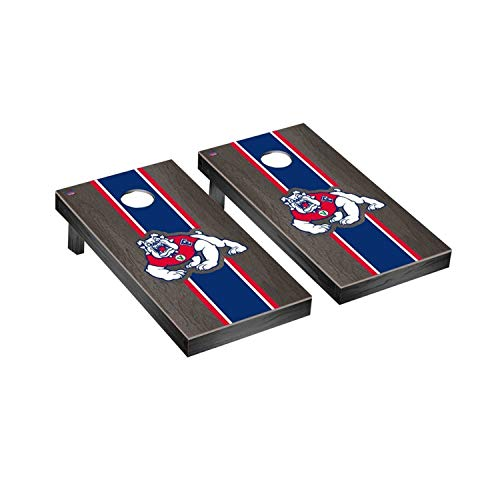Victory Tailgate Regulation Collegiate NCAA Onyx Stained Stripe Series Cornhole Board Set - 2 Boards, 8 Bags - Fresno State Bulldogs