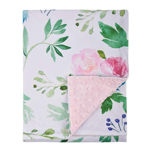 Double Layer Deer Head with Flowers Light Pink Dear Baby Gear Deluxe Baby Blankets Smooth Minky with Ruffle