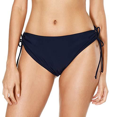 Bikini Side Tie Brief - belamo Women Swim Shorts Solid Swim Bottoms tie Side Bikini Shorts Tankini Bottom Swimsuit Briefs Navy L