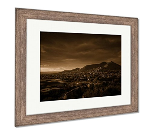 (Ashley Framed Prints Glowing Desert Landscape Phoenixscottsdalearizona, Wall Art Home Decoration, Sepia, 34x40 (Frame Size), Rustic Barn Wood Frame, AG6124054)