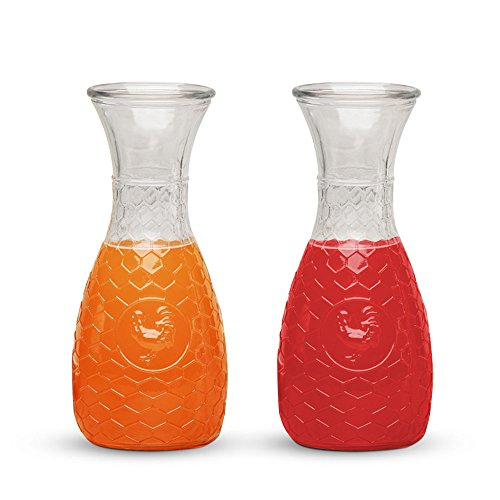 Glass Water Carafe Set of 2, 1 Liter Beverage Decanters with Rooster Decal - Perfect Wine, Beer or Juice Pitcher for Home, Bar or Party