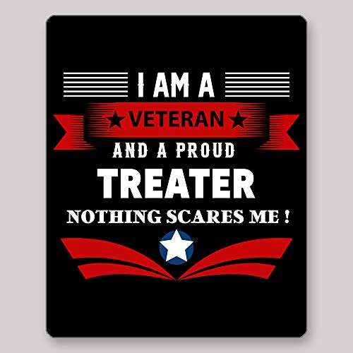 Home Of Merch I Am A Veteran and A Proud Treater Nothing Scares Me Idea Birthday Christmas Retirement Enlistement for Veterans EX Service Men Black Gaming Mouse Pad -