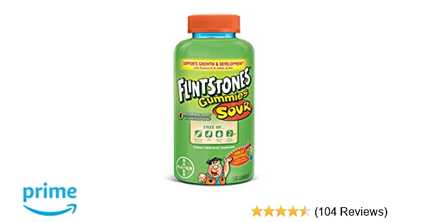 Amazon.com: Flintstones Complete Multivitamin Sour Gummies, 180 Count:  Health & Personal Care