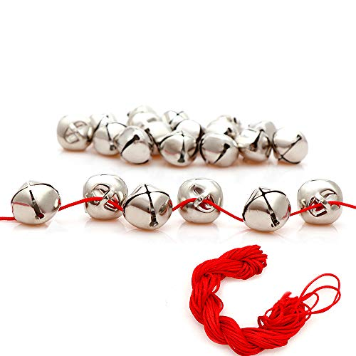 100Pack 1 Inch Sliver Jingle Bells Christmas Craft Bells for Christmas & Party & Festival Decorations with 27m Red Cord ()