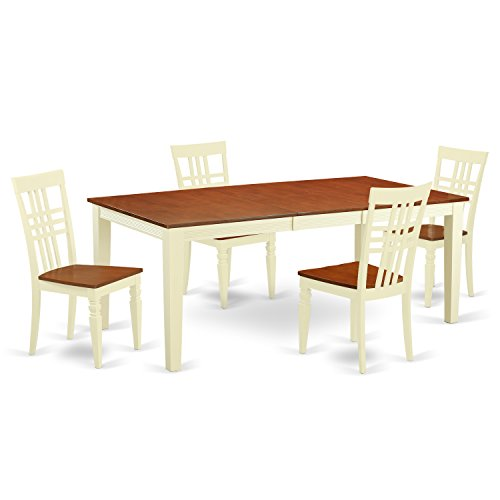 East West Furniture QULG5-BMK-W 5 PC Dinette Table Set with One Quincy Dining Room Table & 4 Kitchen Chairs in Buttermilk & Cherry Finish