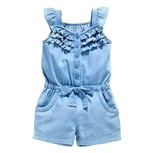 Toddler Kids Baby Girls Denim Short Overalls Bow Ruffled Jumpsuit 2PCS Set 1-5T (12-18Months, Blue) ()