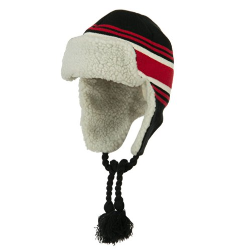 Contrast Jacquard Striped Knit Ski Hat - Black Red OSFM